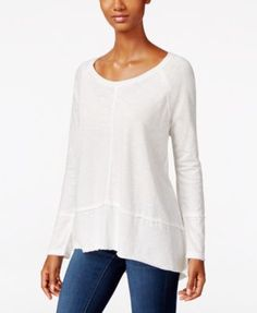 Style & Co. Raw-Edge Scoop-Neck Top, Only at Macy's