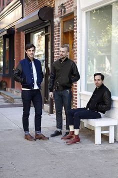 Although I'm not a big fan of leather, I love this trend. Varsity jackets in a dark suede (especially a bold color like the blue one on the left) with contrast sleeves make for a great style piece. Dress them down with jeans and a white t-shirt.