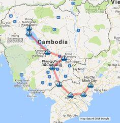 Luxury Mekong River Cruise Saigon to Siemreap Map in the Mekong Delta River Vietnam and Cambodia in Destinations: Saigon - Mytho - Sadec - Tan Chau - Phnom Penh - Kampong Cham - Kampong Chhnag - Tonle Sap - Siem Reap.