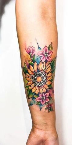 Celebrate the Beauty of Nature with these Inspirational Sunflower Tattoos, Tattoo, creative sunflower tattoo ©️️ Blackout Tattoo Parlor 💕🌻💕🌻💕. Trendy Tattoos, Cute Tattoos, Unique Tattoos, Beautiful Tattoos, Small Tattoos, Tattoos For Women, Random Tattoos, Tattoos Skull, Forearm Tattoos