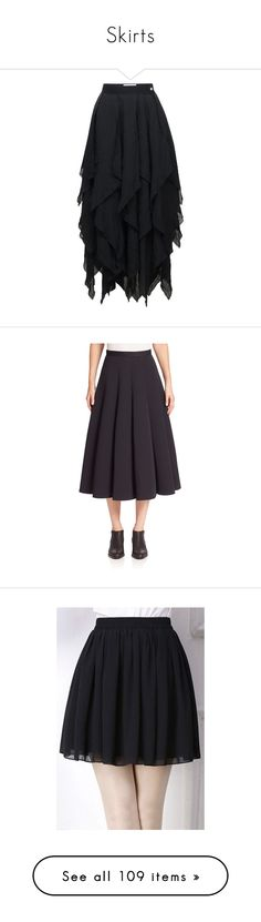 """""""Skirts"""" by demonqueen99 ❤ liked on Polyvore featuring skirts, bottoms, black, midi, double layer skirt, midi skirt, mid calf skirts, rayon skirt, loewe and apparel & accessories"""