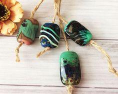 Lampwork Glass Beads From Murano Glass Handmade Multi-Color 4 Pcs Rectangle #HandmadeLampworkBeads #Lampwork