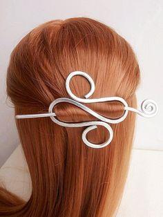 Spiral silver Hair Clips With Hair Stick/Hair by JwlryStudio Copper Hair, Silver Hair, Unusual Jewelry, Handmade Wire, Hair Sticks, Hair Ornaments, Hair Accessories For Women, Wire Art, Hair Barrettes