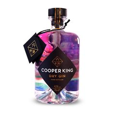Cooper King Dry Gin is hand distilled, bottled and labelled in Yorkshire. Rich juniper notes married with juicy citrus and floral layers of local honey deliver a fresh, vibrant gin of exceptional character. Label Design, Packaging Design, Brand Packaging, Food Packaging, Liquor Bottles, Perfume Bottles, Bbc Good Food Show, Plants In Bottles, London Gin