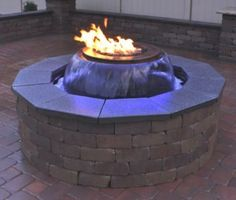 combination water and fire pit water feature with fire