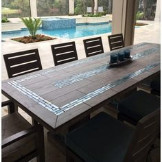 The River Mosaic Tile Table Top More - Patio Table - Ideas of Patio Table Tile Patio Table, Mosaic Tile Table, Tile Top Tables, Diy Table Top, Patio Tiles, Mosiac Table Top, Dining Table, Teak Table, Wood Patio