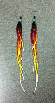 Native American  Black, Multi Colored Beaded Earrings