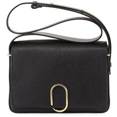 3.1 Phillip Lim Alix Flap Shoulder Bag (£725) ❤ liked on Polyvore featuring bags, handbags, shoulder bags, black, black handbags, purse, leather messenger bag, black messenger bag and shoulder messenger bag