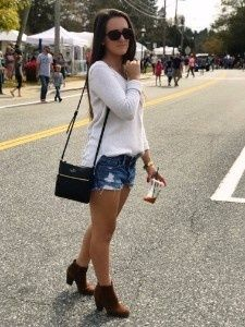 Click link for outfit details. || Warm fall day OOTD. Shorts with ankle boots. Camel tan ankle boots outfit. Jean shorts with sweater. Kate Spade black cross body bag. 70 to 80 degree fall outfit idea. Fall 2017 style. #affiliatelink