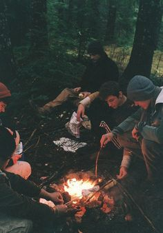 Friends round the campfire - Very gloomy.