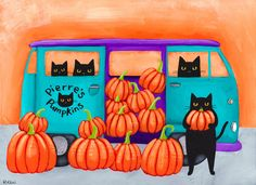 """RESERVED Pierre's Pumpkins  Original Halloween by KilkennyCatArt Peter's Pumpkins""""  -Painted with Golden acrylics. -10"""" x 7.25"""" Wrapped Canvas -Topped with two coats of gloss varnish. -Signed, titled, and dated on the back by me!  Pierre and his friends grew a purrfect crop of pumpkins this year!"""
