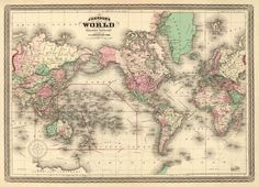 Antique #map - World wall map - #Vintage  world map print - 21…