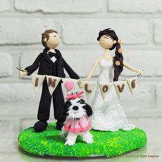 Fun wedding cake topper with banner  We are in love by annacrafts, $220.00
