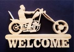 Wooden Chopper Welcome Sign Wood Slice Crafts, Wood Crafts, Diy And Crafts, Intarsia Woodworking, Easy Woodworking Projects, Diy Projects, Harley Davidson Signs, Skull Stencil, Deer Drawing