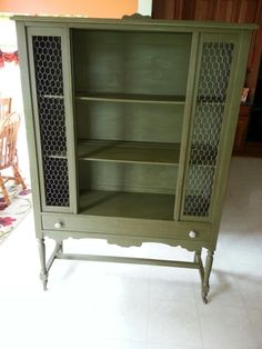 Annie Sloan olive chalk paint with clear and dark wax.