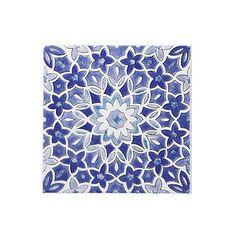 Fleur Blue Ceramic Wall Tile, (L)200mm (W)200mm | Departments | DIY at B&Q