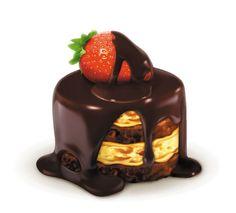 Strawberry chocolate cake ~ huaban illustration