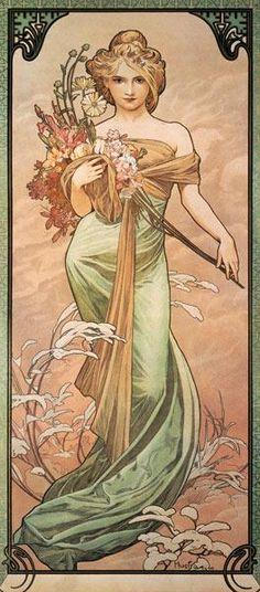 Alphonse Mucha - Jahreszeiten: Der Frühling