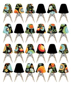 CbyC Studio Original Eames Stacking Chairs - All in a Row - Limited Edition Print. via Etsy.