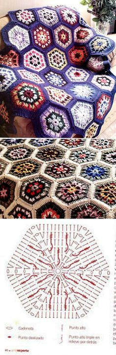 Узор «мозаика цветов» из остатков нитей...♥ Deniz ♥ Crochet Quilt, Crochet Blocks, Crochet Cross, Crochet Squares, Crochet Motif, Knit Crochet, Crochet Patterns, Granny Squares, Crochet Diagram