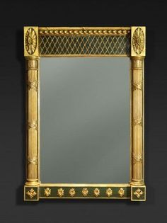 "A Nice Regency Green-Painted and Parcel Gilt Pier Mirror by Finnis & Co., London c1815 - Dim: Height: 71 1/2"" Width: 50"""