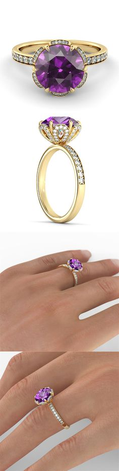 Maybe its purple you like the most ? :) Flower Purple Amethyst Filigree Engagement Ring with 14k Yellow Gold Large Amethyst Ring ... dream of every women :)