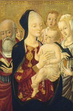 Matteo di Giovanni:  Madonna and Child with Saint Jerome, Saint Catherine of Alexandria, and Angels  (1465/1470)