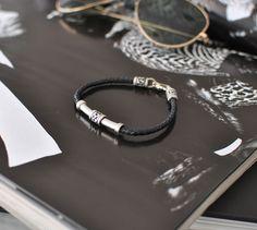 Celtic Love Knot Silver Leather Bracelet