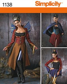 Misses' Dark Faeries Costumes -Simplicity 1138 - Mystical Steampunk Costume - Sizes: 6 -8 -10 -12 or 14 -16 -18 -20 -22 by SunshineRd on Etsy https://www.etsy.com/listing/234509804/misses-dark-faeries-costumes-simplicity