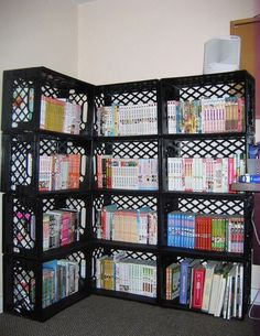 ways free wooden crates shelving remember paint decorate laundry room (crate shelves kids) Milk Crate Storage, Diy Storage, Storage Shelves, Corner Storage, Laundry Storage, Book Shelves, Garage Storage, Milk Crate Furniture, Diy Furniture