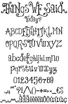 Free Number Fonts   Things We Said font by imagex   FONTSBYTES.COM