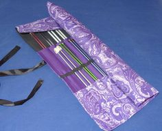 Handmade Knitting Needle Roll Up Organizer with by CreationsByGLAM, $32.00                                                 here