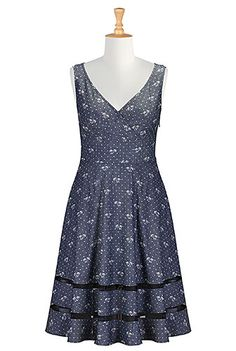 I <3 this Sheer hem chambray print dress from eShakti -  cute palm tree print. I would like to see this in green!
