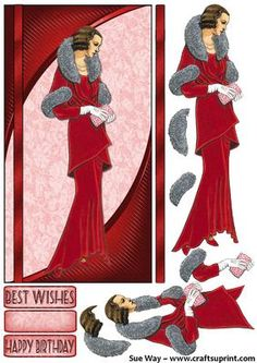 Red 1930's Evening Gown DL Card Front and Decoupage