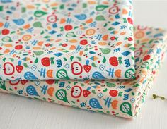 Little Apples and Flower Pattern Cotton Fabric by luckyshop0228, $11.80