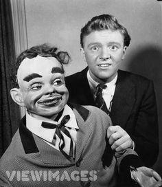 "Dennis Spicer and his  wooden friend, ""James Green"" taken in 1955."