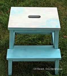 Sweet little Step-stool transformed with Chalk aerosol paint in cream and turquoise and finished with Pinty Plus water based varnish.