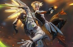 Honored to be commissioned by Lucie Pohl and Gaku Space, the official voices for Mercy and Genji They'll be offering this artwork as a print at MCM Lond. Mercy and Genji Overwatch Mercy, Genji Overwatch, Overwatch Comic, Overwatch Fan Art, Genji Wallpaper, Mercy Fanart, Overwatch Video Game, Overwatch Drawings, Overwatch Wallpapers