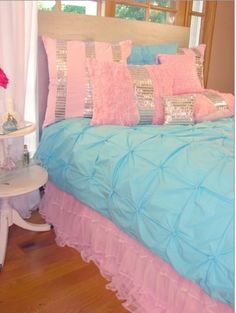 pink and turquoise bedding sets from sweet peaches girls bedding collection
