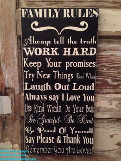 Family Rules Sign 12 x 24 Wood Sign by DropALineDesigns on Etsy