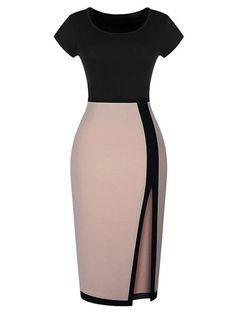 Color Block, Short Sleeve, Thigh Split, Bodycon Dress