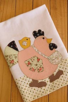 Chicken quilt block Pano de prato