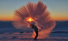 Near the town of Pangnirtung in Northern Canada just 12 miles south of the Arctic Circle, two men took this incredible photo of hot tea flash-freezing at –31 degrees Fahrenheit.