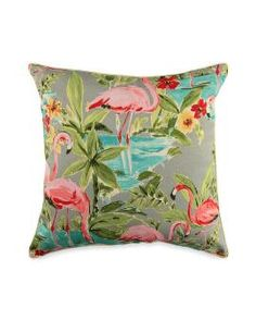 Indoor/Outdoor Flamingo Decorative Pillow - 18""