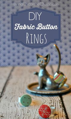 DIY Jewelry: Vintage-Inspired Fabric Button Rings. These are so easy to make. If you can glue it you can do it! I totally made these on the cheap too... I made 8 rings for under $5…it worked out to about $.60 per ring! Great gift idea! #DIY