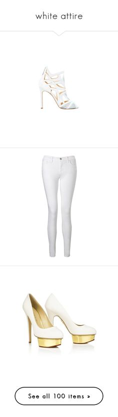 """white attire"" by darlingchick ❤ liked on Polyvore featuring shoes, sandals, jeans, pants, bottoms, calças, pantalones, white, j brand jeans and white jeans"
