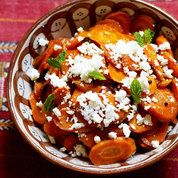 Spice roasted carrots recipe with feta and mint