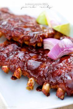 Baked Apple BBQ Pork Ribs | bigredclifford.com