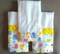 Baby Burp Cloths  Set of 3  Owl Pattern by IslaRoseBoutique (@Marti Fuerst how cute are these?)