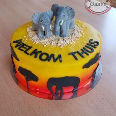 Safari cake, african theme  with elephants